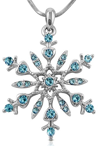 Crystal Snowflake Pendant Necklace Winter Bridal Fashion Christmas Holiday Jewelry Gifts for Girls, Teens, Women (Aqua Blue)