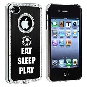 Apple iPhone 4 4S 4G Black S138 Rhinestone Crystal Bling Aluminum Plated Hard Case Cover Eat Sleep Play Soccer