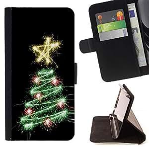 Momo Phone Case / Flip Funda de Cuero Case Cover - Árbol Negro Estrella Luces Negro - LG G4c Curve H522Y (G4 MINI), NOT FOR LG G4