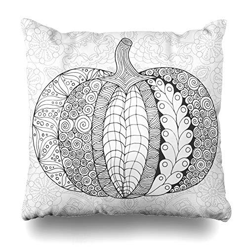 Kutita Decorativepillows Covers 18 x 18 inch Throw Pillow Covers, Pumpkin Black White Thanksgiving Halloween Autumn Book Art Day Pattern Double-Sided Decorative Home Decor Pillowcase
