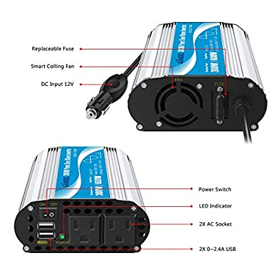 Pure Sine Wave Power Inverter 300Watt Car Adapter Converts 12V DC to 120V AC with 4.8A Dual USB and 2 AC Outlets for Tablets Laptops Smartphones CPAP: Car Electronics