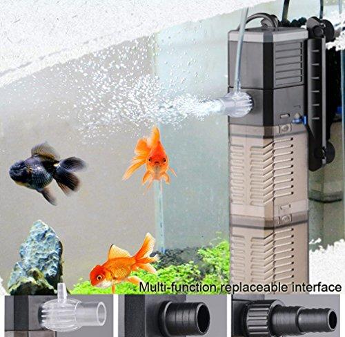 Fish Tank Filter 3-in-1 Aquarium Submersible Pump Water Pump for Fish Tank 7W 8W...