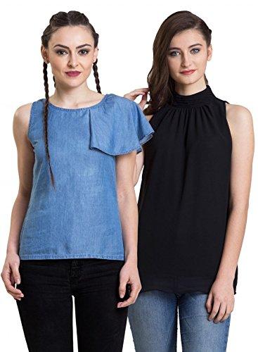 e00c1ed8ecfb38 IRALZO Women s Denim Tops Combo (Pack of 2)  Amazon.in  Clothing    Accessories