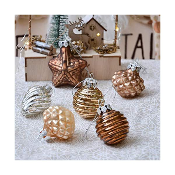 Valery Madelyn Palle di Natale Vetro Addobbi Natalizi Set, 16 Pezzi 5-7cm Copper And Gold Palline di Natale Decoration for Addobbi Natalizi per Albero 7 spesavip