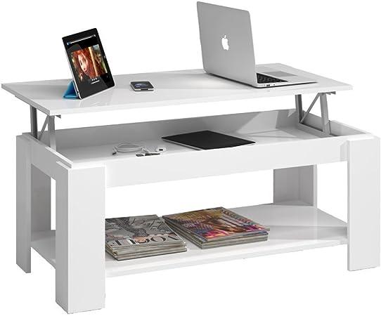 Habitdesign (001639BO) - Mesa de centro elevable con revistero ...