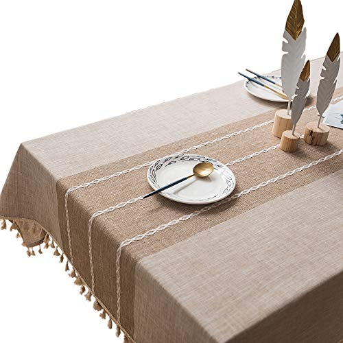 Restaurant Covers Table (VIMOO Tassel Tablecloth Elegant Embroidered Stripe Cotton Linen Washable Table Cover, Kitchen Wedding Restaurant Party Picnic Use(Rectangle,55x86 inch, Linen))