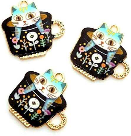 10 Colorful Enamel Kitty Cat in a Teacup Cup Gold Bead Drop 23mm Charms Pendants