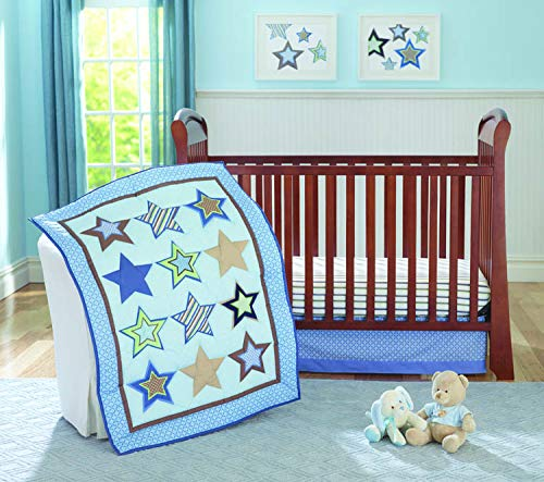 le Star 4 Piece Crib Bedding Set for Baby Boys or Girls | Beautiful Nursery Bedding | Blue Stars and Stripes | Bumper, Quilt, Sheet and Crib Skirt ()