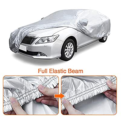 uxcell 3XL Silver Tone 170T Car Cover Outdoor Weather Waterproof Scratch Rain Snow Heat Resistant W Mirror Pocket: Automotive