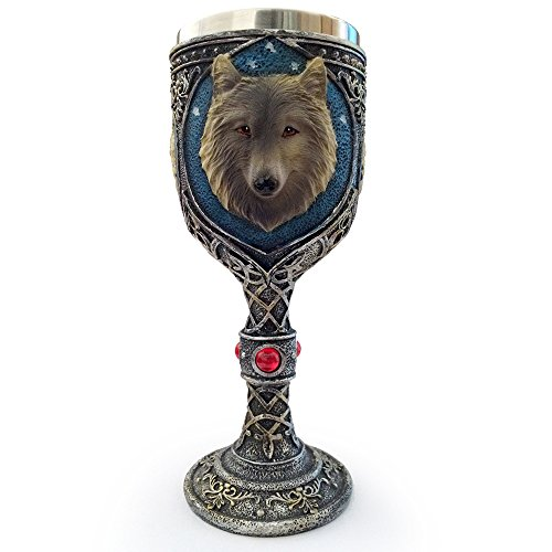 Deli 150ml Creative Cool 3D Wolf Head Wine Goblet, Resin Stainless Steel Coffee Cup, Double Wall Drinking Mug Heat Insulated Drinkware Novelty Gifts Funny Copo (Wolf Head) (Drinking Glasses Pictures)