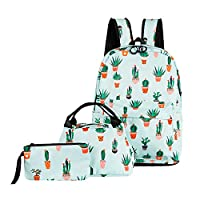 ABage School Bag 3 backpack Set Cute Lunch Bag Pattern Bookbag with Pencil Case for Girls and Boys, Green Cactus
