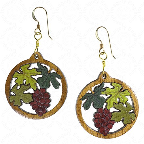 Grape Cluster Earrings Wood Inlay 14K Gold Filled Wires (Wood Cluster)
