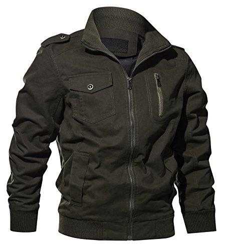 f9d6121514 Galleon - WULFUL Men's Cotton Military Jackets Casual Outdoor Coat  Windbreaker Jacket
