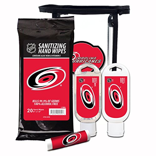 Worthy Promotional NHL Carolina Hurricanes 4-Piece Gift Set with SPF 15 Lip Balm, Sanitizer, Wipes, Hand Lotion
