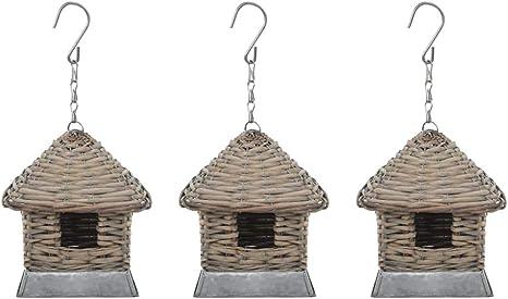 vidaXL 3X Casas para Pájaros Mimbre Pajarera Ratán Nido Aves Decoración Jardín: Amazon.es: Jardín