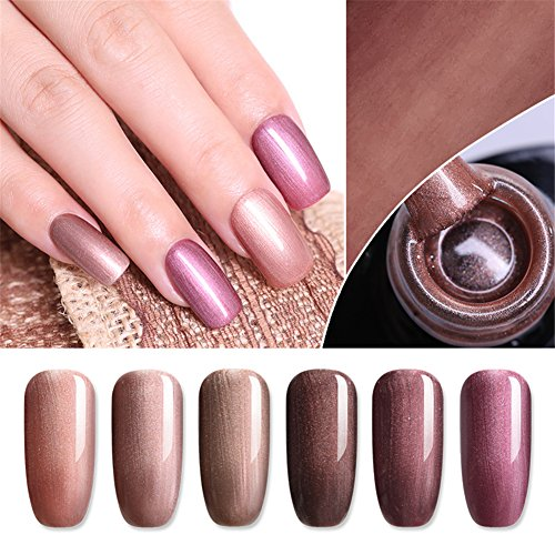 Amazon.com : UR SUGAR 7.5ml Gel Nail Polish Set Pure Color Pearl Champagne Soak Off UV LED Lacquer Bronze Series Shimmer Nail Art Varnish Manicure Kit 6 ...