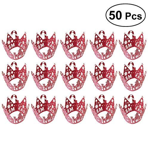STOBOK 50 Piezas Huecas de Navidad de Flores de Nieve y árboles patrón para Cupcakes decoración Boda cumpleaños Fiesta...