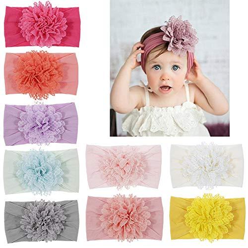 Baby Girl's Headbands Chiffon Lotus Flower Soft Nylon Headwrap Toddler Hair Bows (Multicoloured -
