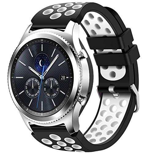 CreateGreat for Samsung Gear S3 Frontier and Classic Watch, Soft Replacement Breathable Sport Bands with Air Holes for Samsung Gear S3 Smart Watch Band(Black White)