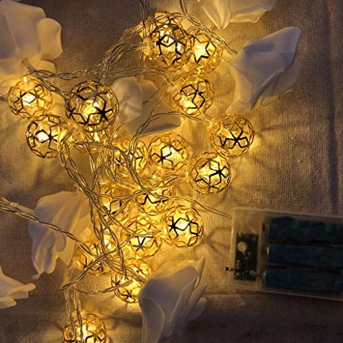 AIUSD Cleaner, Fairy Decorative String Lights 20 LED Hollow Metal Ball Light Home ()