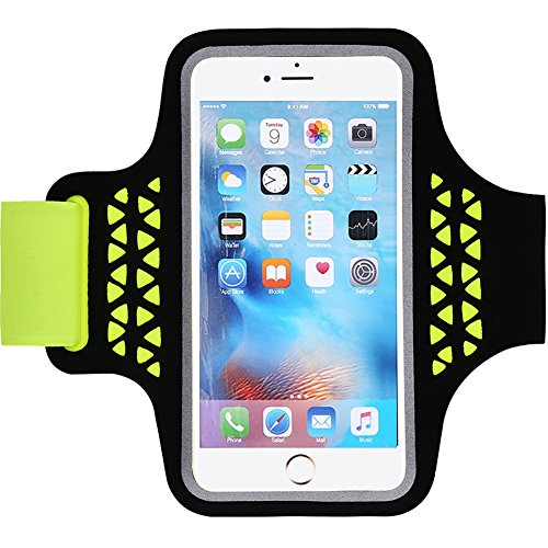 (Water Resistant Sports Armband 5.7 Inch Case for iPhone 8 7 6s/6 Plus, Samsung Galaxy A8/Note 3/4/5, LG G6, Adjustable Reflective Velcro Key Holder Card Slot & Screen Protector (Neon Green))