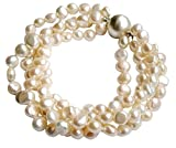 White Baroque Cultured Pearl Four Strand Chunky Bracelet With Round 925 Silver Magnetic Clasp