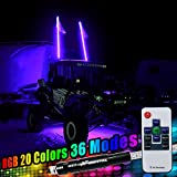 #9: Night Fire 5FT RGB LED Whip Lights LED Antenna Safety Flags Pole w/ Quick Disconnect For UTV ATV Truck Boat Offroad(One Whip)