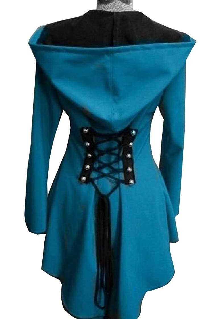 XQS Womens Halloween Hooded Robe Lace Up Vintage Pullover High Low Long Hoodie Coat