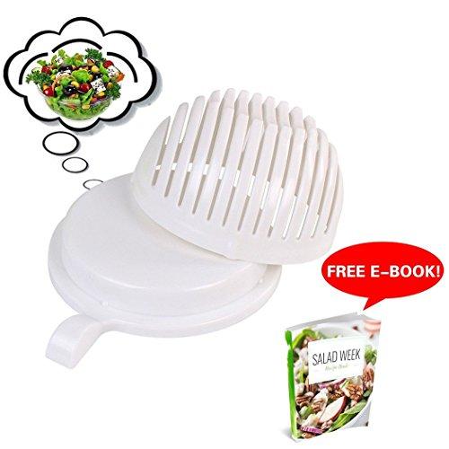 EZbuy 60 Second Salad Maker Salad Chopper Cutter Bowl Manual Vegetable Slicer with Container Healthy Fresh Salads Made Easy - (Slit Fit Cam)