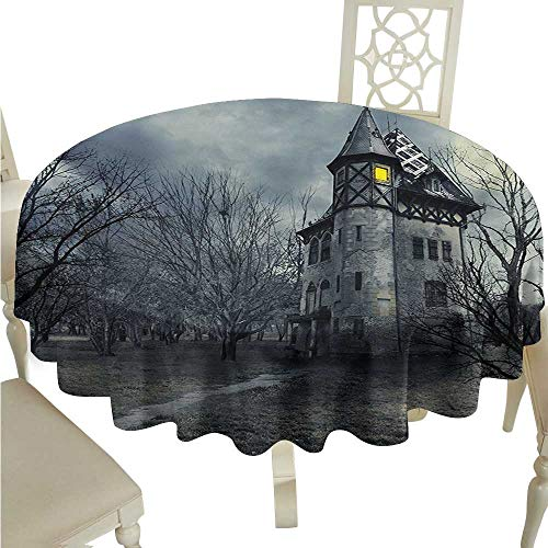 longbuyer Round Tablecloth Fitted Halloween,Halloween Design with Gothic Haunted House Dark Sky and Leafless Trees Spooky Theme,Teal D54,for Accent Table ()