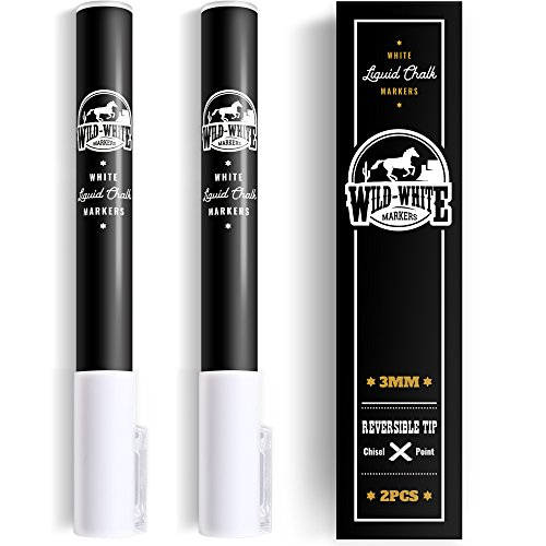Glass Black Pipe (WILD WHITE Chalk Markers 3mm Fine dual reversible tip - White Liquid chalk marker pen for Bistro menu boards, Windows, Glass, Blackboard, Chalkboard, Plastic, Vinil)