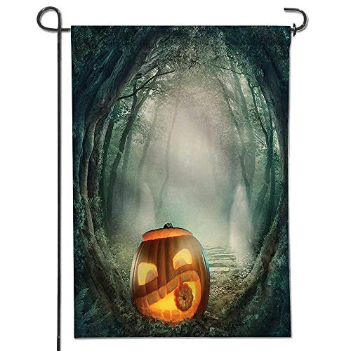 Mikihome Seasonal Garden Flag Collection Big Scary Halloween Pumpkin in Enchanted Forest Mystic Twilight Party Themed Orange Double Sided Weatherproof Flags
