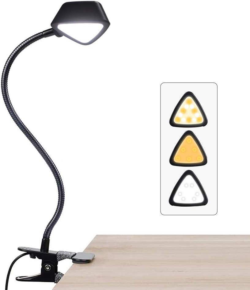 LuminoLite 12 LED Adjustable Reading, 10 Brightness Level x3 Colors Book Lamp, Clip Light for Desk, Bed Headboard, Black - -