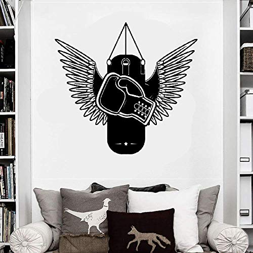 Aweyu Wall Decal Quote Words Lettering Decor Sticker Wall Vinyl Boxing Gloves with Wings Gym Fighter Punching Heavy