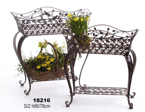 Unbekannt Blumenbank Blumenregal Avis aus Schmiedeeisen 2er Set