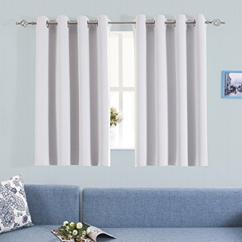 Window Treatment Blackout Curtains - Aquazolax Grommet Solid Drapesd Room Darkening Window Coverings Draperies for Living Room, 2 Panels, 54x45, Greyish White (Curtains 60 90 X)