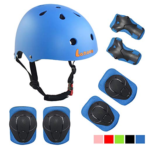 Lanova Toddler Helmet Kids Knee Pads for 3-8 Years Toddler Youth Bike Skateboard Helmet Knee Elbow Wrist Pads for Roller Bicycle Bike Skateboard and Other Extreme Sports Activities (Good Bike For 5 Year Old Boy)