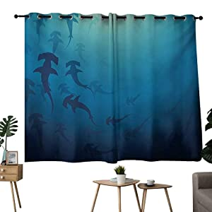 "NUOMANAN Window Curtains Sea Animals,Hammerhead Shark School Scan Ocean Dangerous Predator Wild Nature Illustration,Navy Blue,Blackout Thermal Insulated,Grommet Curtain Panel Set of 2 42""x45"""