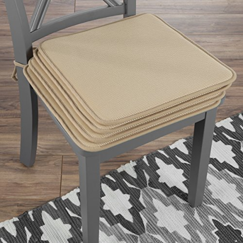 Lavish Home 82-TEX1044TN Chair Cushions-Set of 4 Square Foam x 16