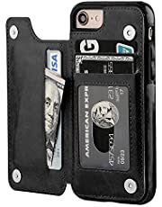 iPhone 8 Wallet Case with Card Holder,OT ONETOP iPhone 7 Case Wallet Premium PU Leather Kickstand Card Slots,Double Magnetic Clasp and Durable Shockproof Cover 4.7 Inch