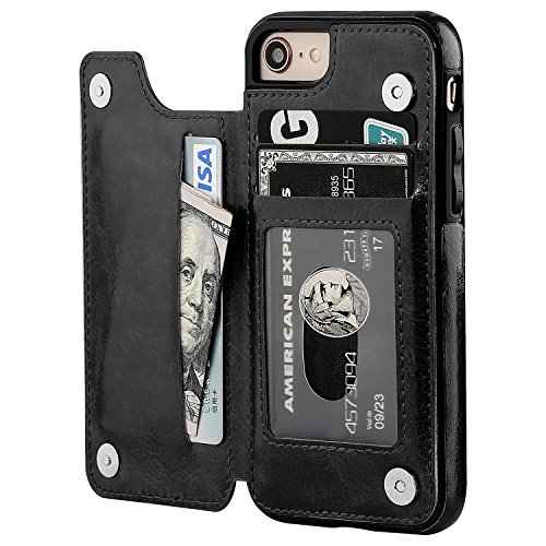 iPhone 8 Wallet Case with Card Holder,OT ONETOP iPhone 7 Case Wallet Premium PU Leather Kickstand Card Slots,Double Magnetic Clasp and Durable Shockproof Cover 4.7 Inch(Black) by OT ONETOP