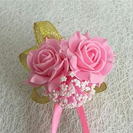 Rosa Claro Novia,Dama de Honor Doble Flor Fiesta Zedo Mu/ñequera de Flores,Pulsera del Flor Mu/ñeca,Broches para Novias,Pulsera Novia,para Boda Hecha a Mano,10 * 12CM,1 pcs