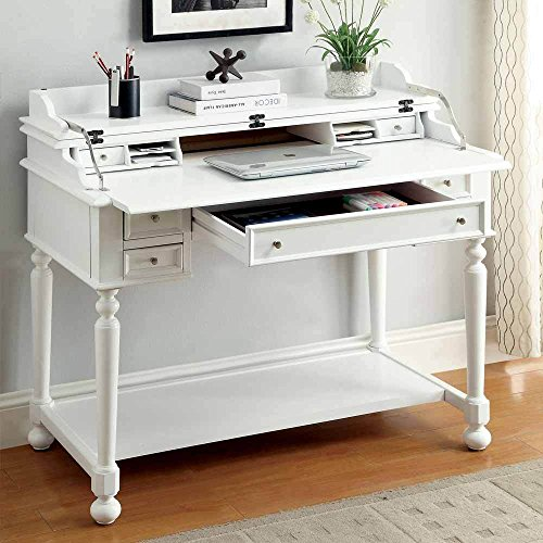 1PerfectChoice Lexden Traditional Secretary Computer Fold-Out Writing Tray Desk Drawers White