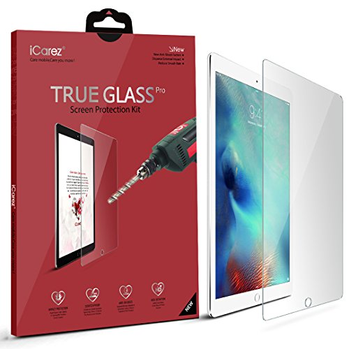 Apple 12.9-inch iPad Pro Screen Protector, iCarez [Tempered Glass] Highest Quality Premium Easy Install With Lifetime Replacement Warranty - Retail Packaging