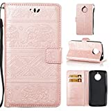 Motorola Moto E4 Plus Case , Motorola Moto E4 Plus Leather Case , Motorola Moto E4 Plus Wallet Case ,COZY HUT® Elegant Tribal Elephant Pattern Design Leather Wallet Case [with Lanyard Strap/Rope] for Motorola Moto E4 Plus, Premium Flip Wallet with Card-Slot Kickstand and Magnetic Clip, Book Style Design Protective Folder Case Cover for Motorola Moto E4 Plus - Rose gold elephant