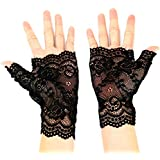 Buorsa Black Short Lace Half Finger Gloves UV Protection Fingerless Gloves Women's Floral Lace Gloves Party Driving Wedding