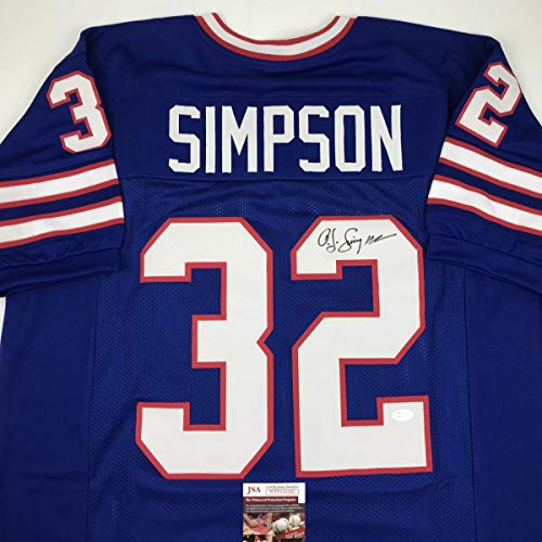 Autographed/Signed OJ O.J. Simpson Buffalo Blue Football Jersey JSA COA