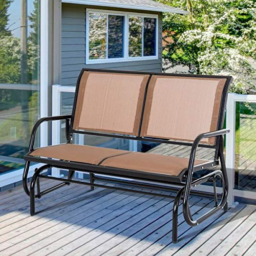GCLuxury Brown Double Glider Rocking Chair Bench Outdoor Garden Patio Furniture Relax Comfort Seating Poolside Lightweight Sling ()
