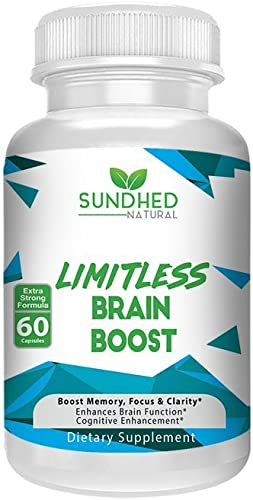 Sundhed Natural Limitless Brain Boost 60 caps – Memory, Focus, Mental Clarity – Nootropics Scientific Formula for Enhance Performance, Super Ginkgo Biloba, St John Wort Extract, DMAE