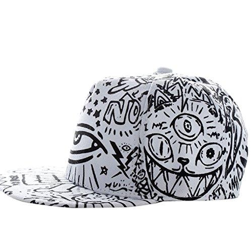 Sannysis Fashion Vintage Baseball Flat Bill Hat Hippie Eye Hiphop Adjustable Cap (white)